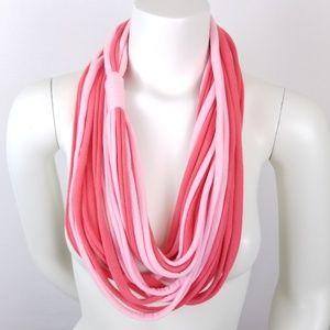 Infinity Scarf Rolled Hem Twist Pink Coral